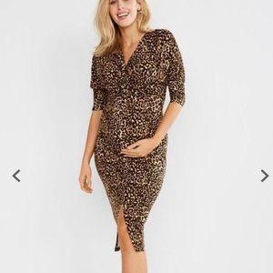Jessica Simpson leopard print maternity midi dress